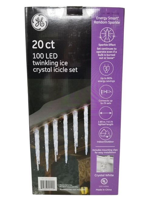 GE Energy Smart 100 LED Twinkling Ice Crystal Icicle Set 20 Ct - Crystal