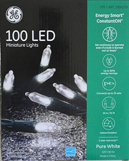 GE 100 LED ConstantON Miniature White Lights 33ft/10m (803993001210)