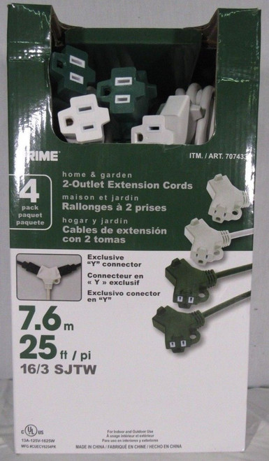 """Prime Home & Garden 4 Pack 2 Outlet """"Y"""" Connector Extension Cords"""