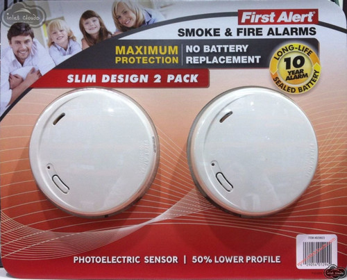 First Alert 10-Year Photoelectric Smoke & Fire Alarm, 2-pack