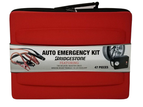 Bridgestone Auto Emergency Kit with Tire Inflator, Booster Cables + More 47 Pcs (845174007901)