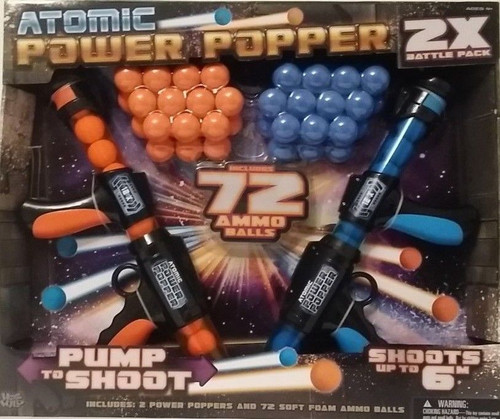 Atomic Power Popper x 2 Battle Pack 2 Guns and 72 Ammo Balls Kids Toys Shoots 6m (605168540124)
