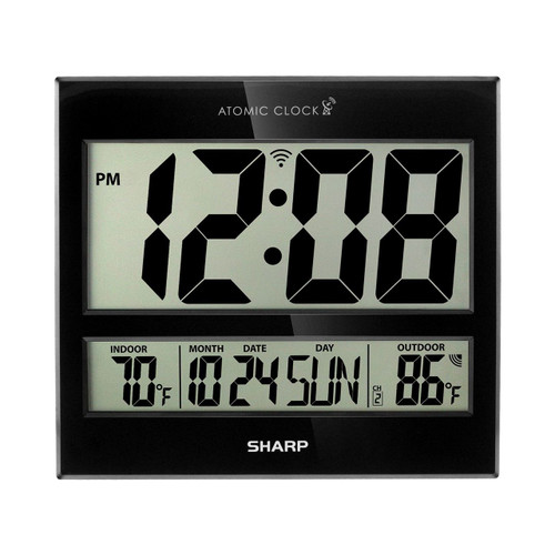 Sharp Digital Atomic Clock, Black (SPC1107)
