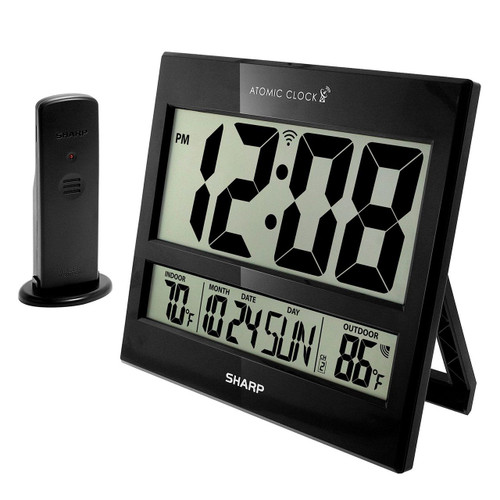 Sharp Digital Atomic Clock, Black (SPC1107)