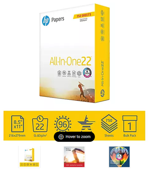 HP All-In-One Printing Paper with 96 Brightness, 22-lb., Letter, 750 ct. - White (711049)