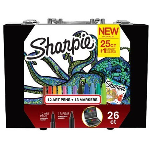 Sharpie Coloring Kit with Permanent Markers, Art Pens and Coloring Booklet, Hard Case, 26 Count (071641137035)