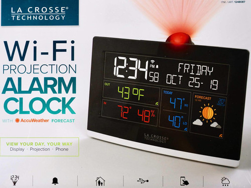 La Crosse Wi-Fi Projection Alarm Clock AccuWeather Forecast (757456082929)