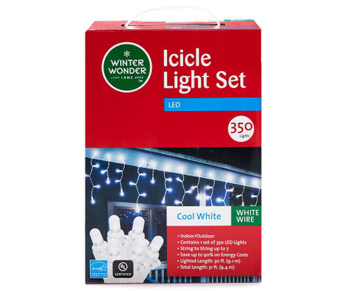 Winter Wonder Lane Cool White LED Icicle Lights on White Wire, 350-Count (1066)
