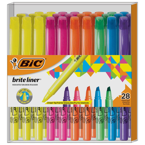 BIC Brite Liner Highlighter, Chisel Tip ( WC8MC082-AST)