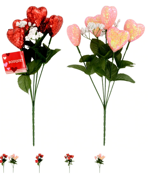 Glitter Heart 5-Stem Bouquets With Baby's Breath, 13x8 in. Set of 6 ( 262589)