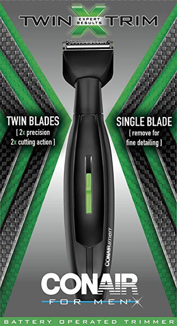 Conair Twin Trim Battery-Operated 2 Blade Beard, Mustache, and Stubble Trimmer (074108302571)