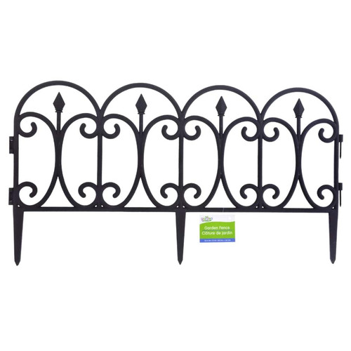 Black Plastic Garden Fence Interlocking Sections