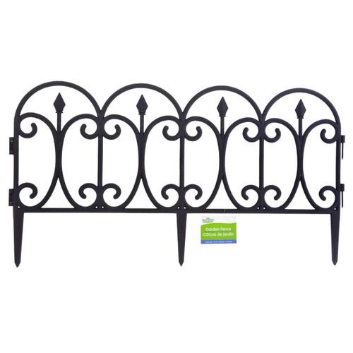 Black Plastic Garden Fence Interlocking Sections