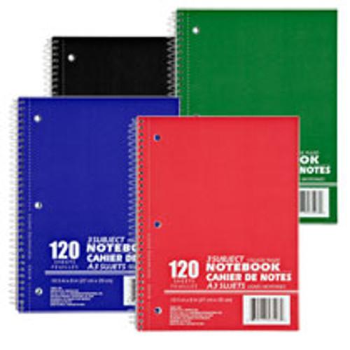 3-Subject College Ruled Spiral-Bound Notebooks Dozen Deal
