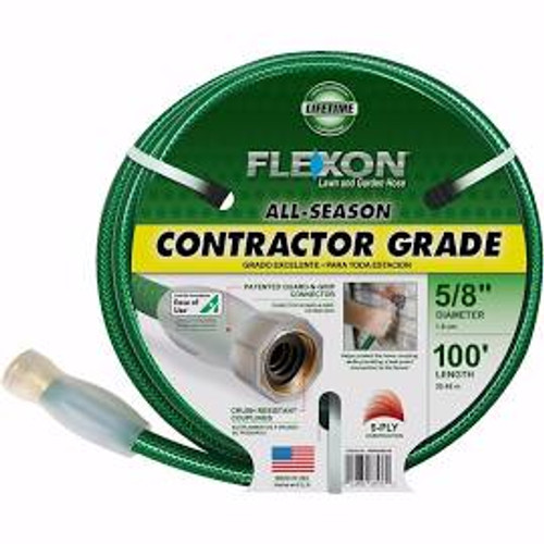 "Flexon 100 All-Season Contractor Grade Hose 5/8"" Taupe / Green"