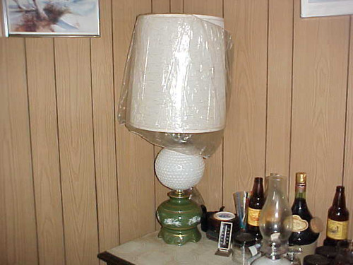 Table Lamp green decorated Glass w/ white hobb glass center & shade