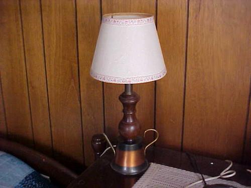 Vintage Copper wood tea pot lamp