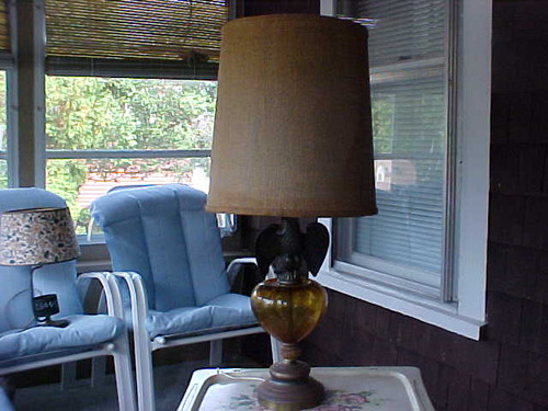 Table Lamp brass like base with Eagle