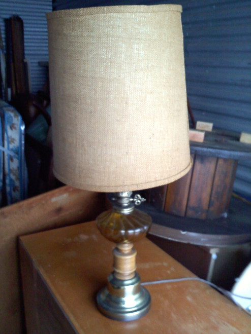 Table Lamp Wood/Brass Finish with Amber glass center with tweed shade (27) (