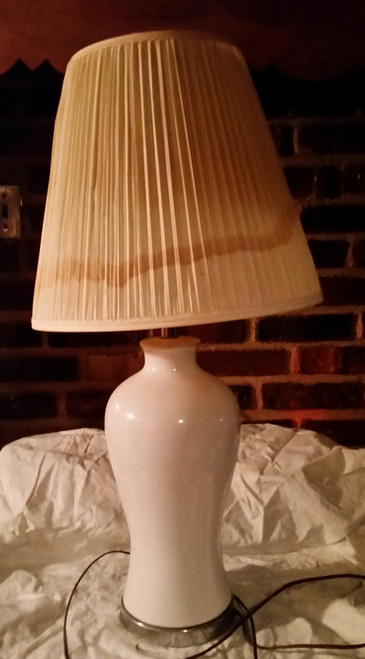 White Ceramic Table Lamp with shade (314)