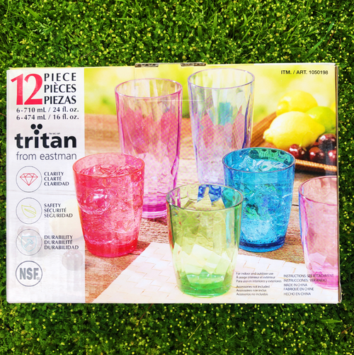 Tritan Multi Color Drinkware 12pc Set, 24oz & 16oz (9914)
