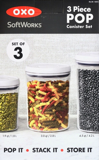 OXO SoftWorks 3-Piece POP Round Canister Set, 1.9, 3.0 and 4.5 Quarts (1186955)