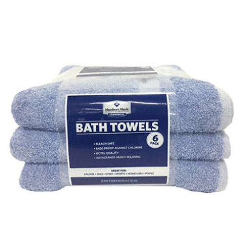 Commercial Hospitality Bath Towels, White/Blue, Set of 6