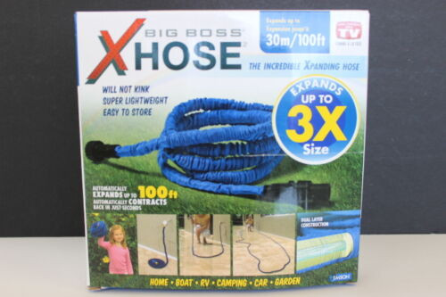 Big Boss XHose By Emson Expanding 100FT Hose Plastic Fittings Blue 9191FE NIB (9191FE)