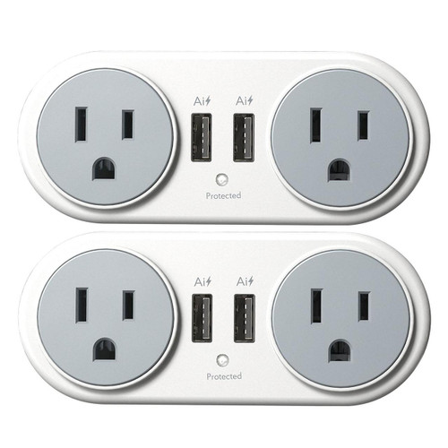 Atomi Plate Power Mini Swivel Wall Outlet (2 Pack) ( AT1238)
