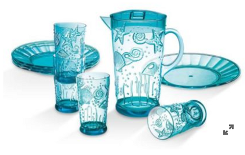 Coastal 9-Pc. Acrylic Drinkware and Plate Set (00HY111/131 & 00SC171 )