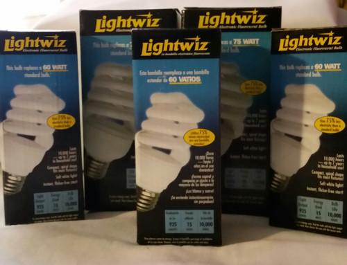Lightwiz Electronic Fluorescent Spiral Bulbs 5 Bulbs Lot (H150MS)