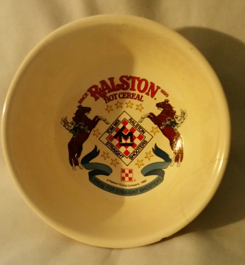 Tom Mix Ralston Hot Cereal Cowboy Straight Shooters Bowl (Ralston-Purina, 1982)