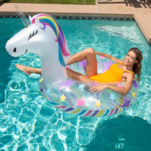 Inflatable Animal Pool Float with Matching Drink Holder Mini-Float (22081)
