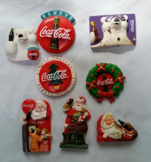Vintage Christmas Coke Magnets lot of 8
