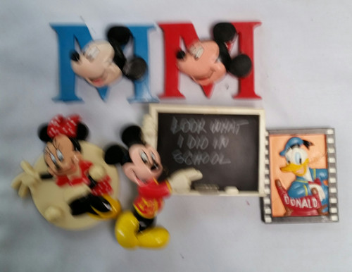 Vintage Mickey Mouse Magnets Lot of 5