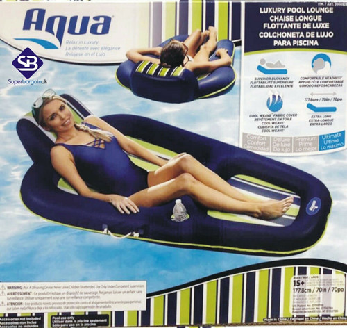Aqua Extra Long Luxury 176.8cm Inflatable Pool Lounger with Beverage Holder & Handles