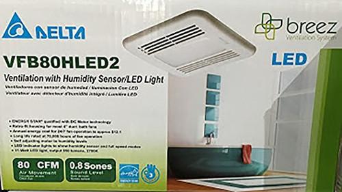 Delta Breez Ventilation Fan with Humidity Sensor & LED Light- VFB80HLED2