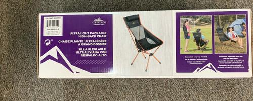 Cascade Ultralight Packable High back chair black