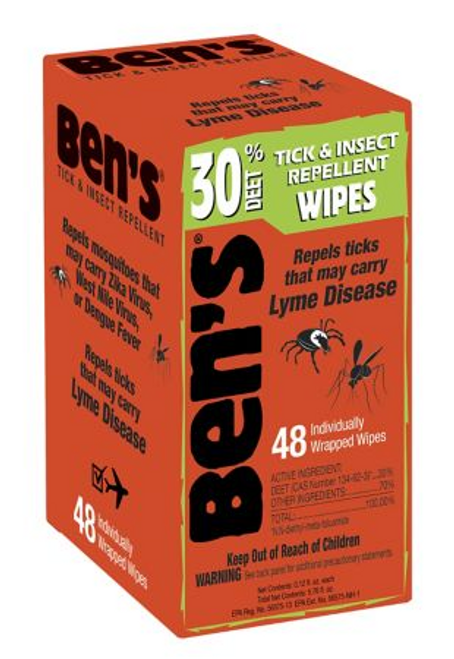 Ben's 30% DEET Tick & Insect Repellent Wipes, 48 ct. ( 0006-7095 )