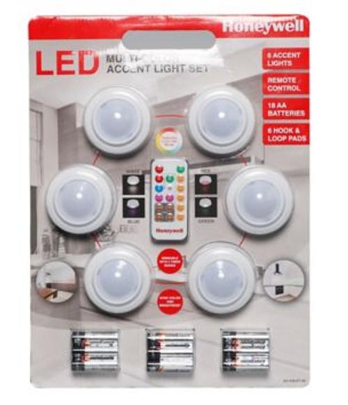 Honeywell LED Multicolor Accent Light Set, 6 pk. (A01AB02T-06)