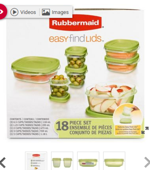 Rubbermaid 18-Pc. Easy Find Lids Food Storage Containers