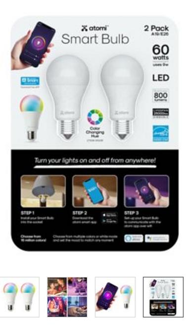 Atomi Smart Bulb, 2 pk. (218238 )