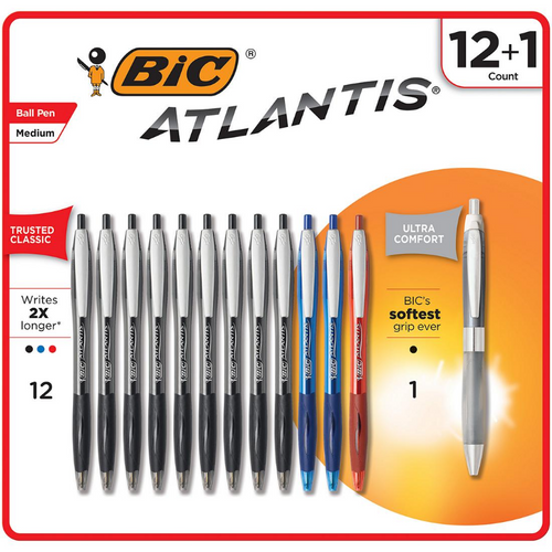 BIC Atlantis Original Ball Pen, 12 ct. + BIC Atlantis Ultra Comfort Ballpoint Pen, 1 ct. ( WC9BJ125