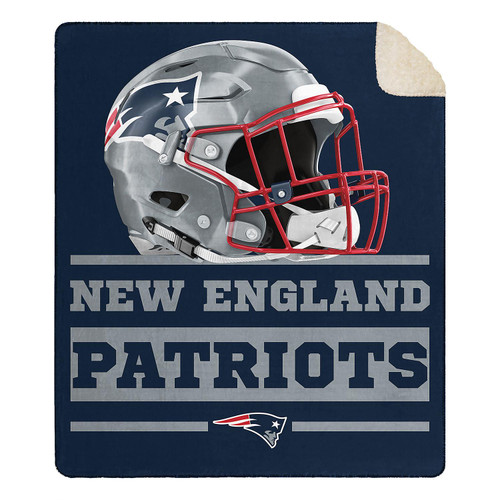 "Officially Licensed NFL New England Patriots Cloud Throw Blanket with Sherpa Back, 60"" x 70"""