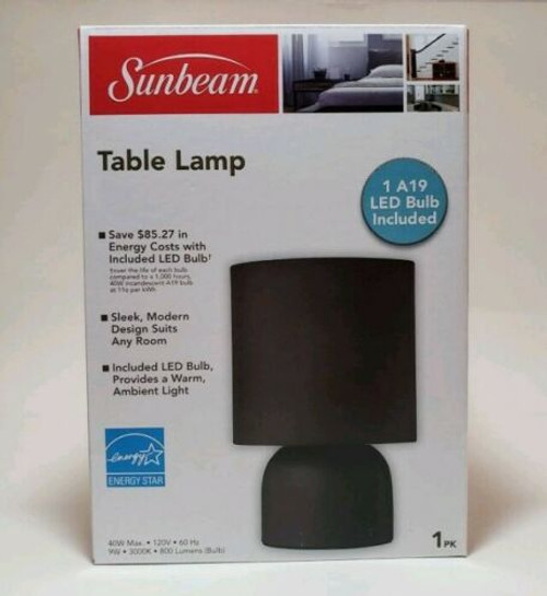 Sunbeam Table Lamp Black Shade Metal Base Wired w/ LED Bulb Energy Efficient (16510)