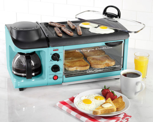 Nostalgia BSET300BLUE Retro Series 3-in-1 Family Size Breakfast Station (BSET300BLUE)