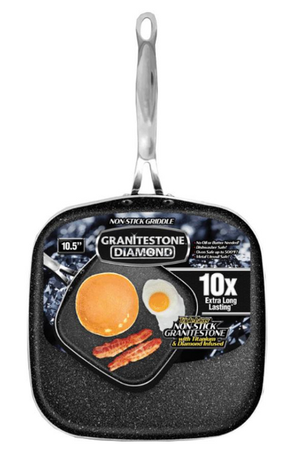 "Granitestone Diamond 10.5"" Non-Stick Diamond-Infused Titanium Grill or Griddle Pan (2594 g)"