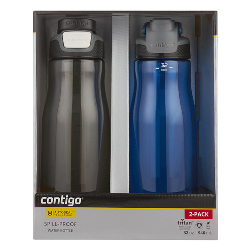 Contigo AUTOSEAL 32 oz. Leak-Proof Water Bottle, 2 Pack (