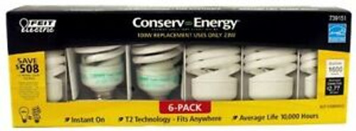 Feit Electric Conserv-energy 100-Watt Equivalent CFL 23-Watt Light Bulbs 6-Pack (017801877991