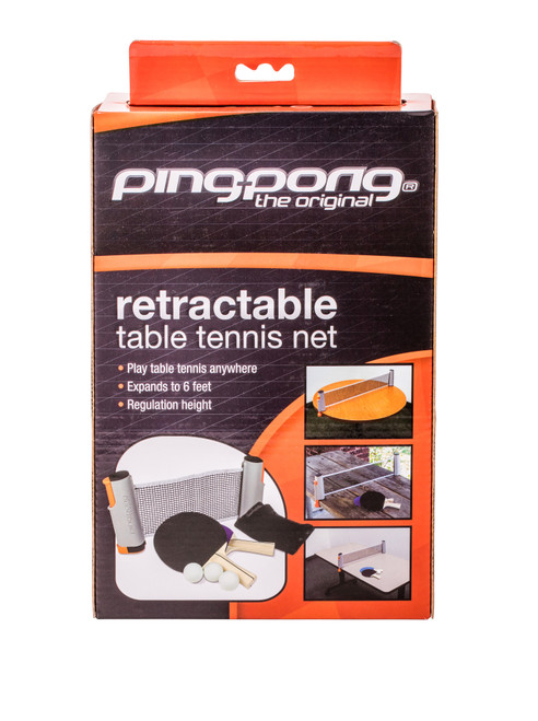 Ping-Pong® Retractable Take Anywhere Table Tennis Set Includes Net, Two Rackets, Three Balls, and Storage Bag